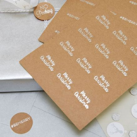 Brown Kraft, Silver Foiled Stickers - pack of 36